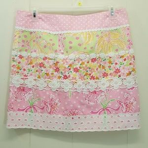 Lilly Pulitzer 12 Skirt Pink Green Dot Floral Lace